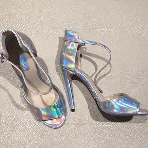 Topshop Silver Holographic Heels